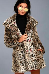 White Crow Chloe Leopard Print Faux Fur Coat