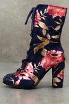 Lulus Valorie Navy Suede Print Lace-up Mid-calf Boots