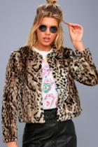 Bb Dakota Mckinley Brown Leopard Print Faux Fur Jacket | Lulus