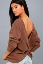 Lulus Wrapped In Warmth Rusty Brown Knot Back Sweater