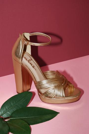 Sivan Gold Platform Ankle Strap Heels | Lulus