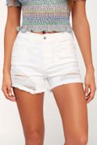 Sneak Peek Lakeside White High-waisted Distressed Denim Cutoff Shorts | Lulus