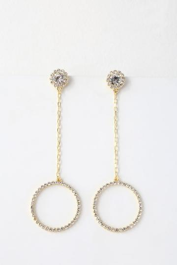 Awe Inspiring Gold Rhinestone Earrings | Lulus