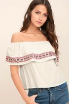 Lulus Hold Me Close White Embroidered Off-the-shoulder Top
