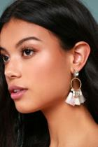 Lulus Venetian Moon Gold Rhinestone Tassel Earrings