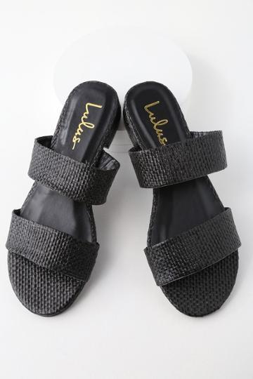 Decker Black Woven Slide Sandal Heels | Lulus
