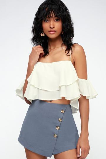 Melita Slate Blue Button-front Skort | Lulus