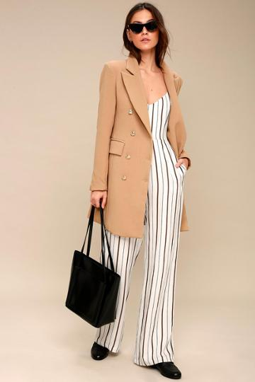 Captain's Blog Tan Double-breasted Coat | Lulus