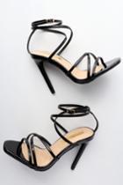 Liliana Octavia Black Patent Dress Sandal Heels   Lulus