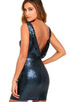 Lulus Shine Time Navy Blue Sequin Dress