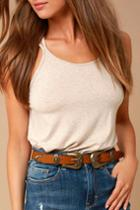 Into The West Brown And Gold Double Buckle Belt | Lulus