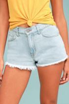 O2 Denim | Kick Back Light Wash Cutoff Denim Shorts | Size Large | Blue | 100% Cotton | Lulus