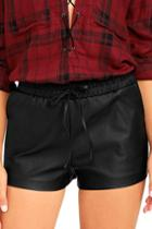 What's In Black Vegan Leather Shorts | Lulus