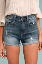 Sneak Peek Sing Along Medium Wash Distressed Denim Shorts