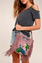 Lulus | California Dreamin' Mauve Pink Genuine Suede Leather Embroidered Purse