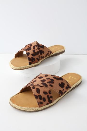 Koren Leopard Espadrille Slide Sandal Heels | Lulus