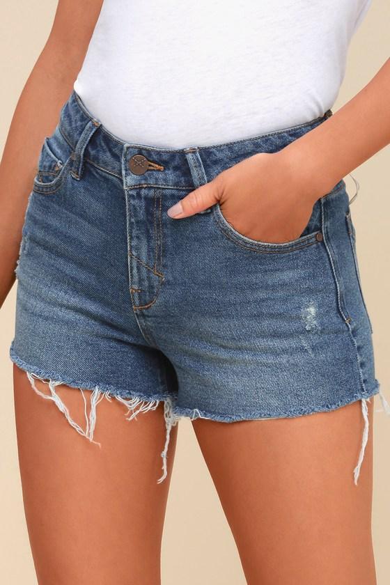 Unpublished Stella Medium Wash High-waisted Cutoff Denim Shorts   Lulus