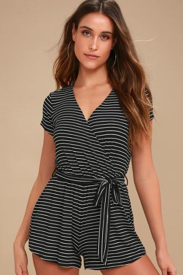 Billabong Romp Stomp Black Striped Short Sleeve Romper   Lulus