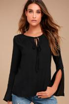 Lulus Carefully Curated Black Long Sleeve Top