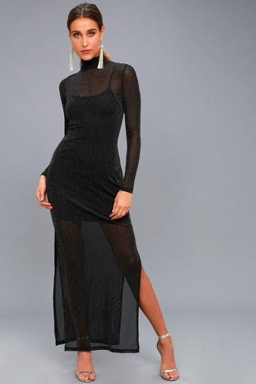 Minkpink | Silver Linings Black Long Sleeve Maxi Dress | Size X-small | 100% Polyester | Lulus