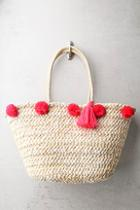 Lulus Byron Bay Beige And Pink Woven Pompom Tote