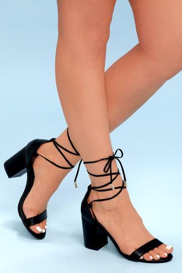 Kaira Black Lace-up Heels | Lulus