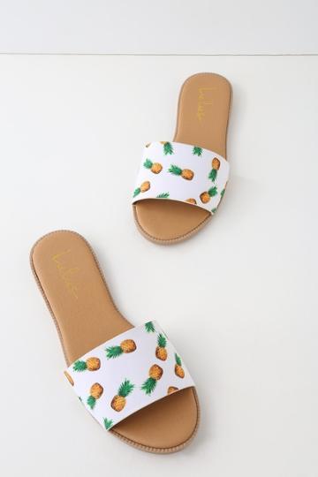 Dawn Pineapple Print Slide Sandal Heels | Lulus