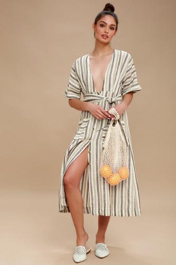 Free People Monday Light Grey Striped Midi Dress | Lulus