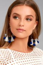 Lulus | Exploration Gold And Blue Hoop Earrings