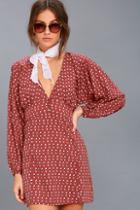Amuse Society Arrowhead Rusty Rose Print Long Sleeve Dress