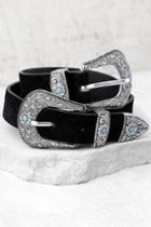Dearheart Black And Silver Double Buckle Belt   Lulus