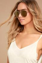 Lulus | Skyward Gold Mirrored Aviator Sunglasses