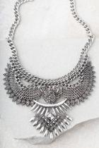 Lulus Exemplary Silver Statement Necklace