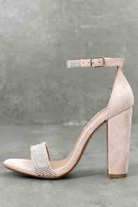 Steve Madden Carrson-r Rhinestone Nude Suede Leather Ankle Strap Heels