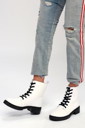 Qupid Effy White Lace-up Combat High Heel Boots | Lulus