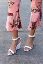 Qupid Reign White Ankle Strap Wedges | Lulus
