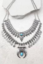 Lulus Entranced By You Turquoise And Silver Layered Statement Necklace