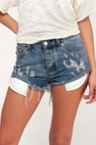 Signature 8 Trailblazing Medium Wash Distressed Denim Shorts | Lulus
