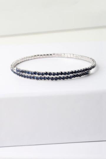 Fancy Fete Sterling Silver And Blue Rhinestone Bracelet | Lulus