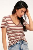 Z Supply Florence Terra Cotta Striped V-neck Tee | Lulus