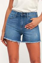 Sneak Peek Sabio Medium Wash High Rise Cutoff Denim Shorts | Lulus