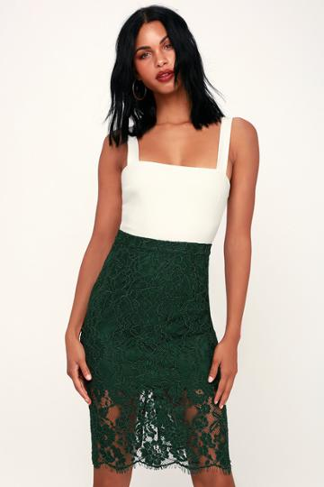 Little By Little Forest Green Lace Midi Skirt | Lulus