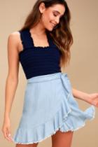 Bb Dakota Jenelle Blue Chambray Wrap Skirt | Lulus