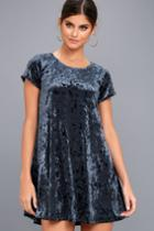 Z Supply | Nivea Navy Blue Crushed Velvet Swing Dress | Size Medium | Lulus