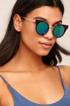 Lulus | Pretty Sight Tortoise And Blue Mirrored Sunglasses