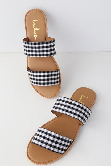 Bonnibel Time To Chill Black Gingham Slide Sandal Heels | Lulus