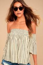 Billabong Free Flows Cream Striped Off-the-shoulder Top | Lulus