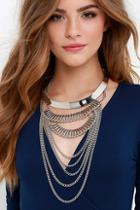 Lulu*s Regal Tendencies Silver Layered Collar Necklace