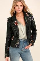 Blank Nyc Black Embroidered Vegan Leather Moto Jacket