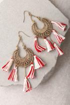 Lulus | Hanalei Gold And Red Tassel Earrings